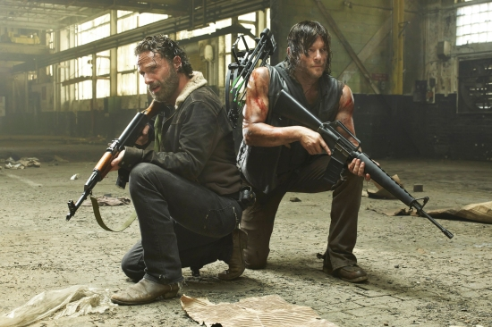 TV STILL -- DO NOT PURGE -- Andrew Lincoln as Rick Grimes and Norman Reedus as Daryl Dixon - The Walking Dead _ Season 5, Gallery - Photo Credit: Frank Ockenfels 3/AMC